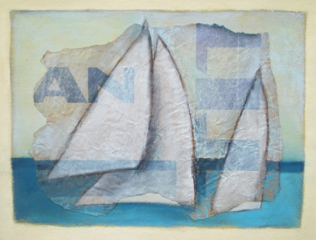 TITAN SAILS collage, charcoal, pastel on paper 40 x 50 cm