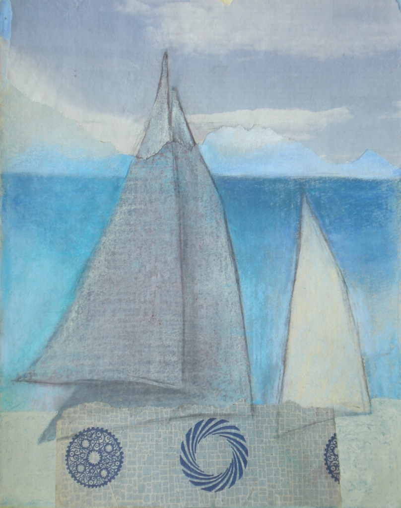 DONOUSSA SAILS collage & pastel on paper 42 x 29 cm