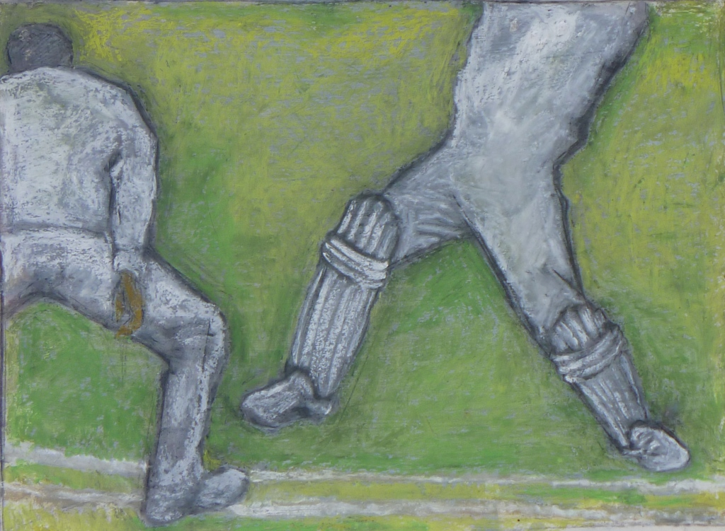 TWO PLAYERS charcoal, pastel on paper 50 x 60 cm