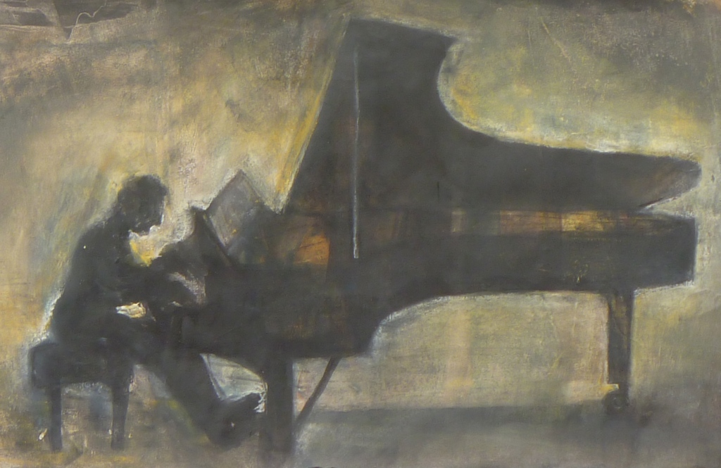 PIANIST STUDY Indian ink, pastel, charcoal on paper 17 x 42 cm