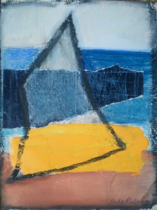 BROAD SEAS collage, oil, soft pastel on paper