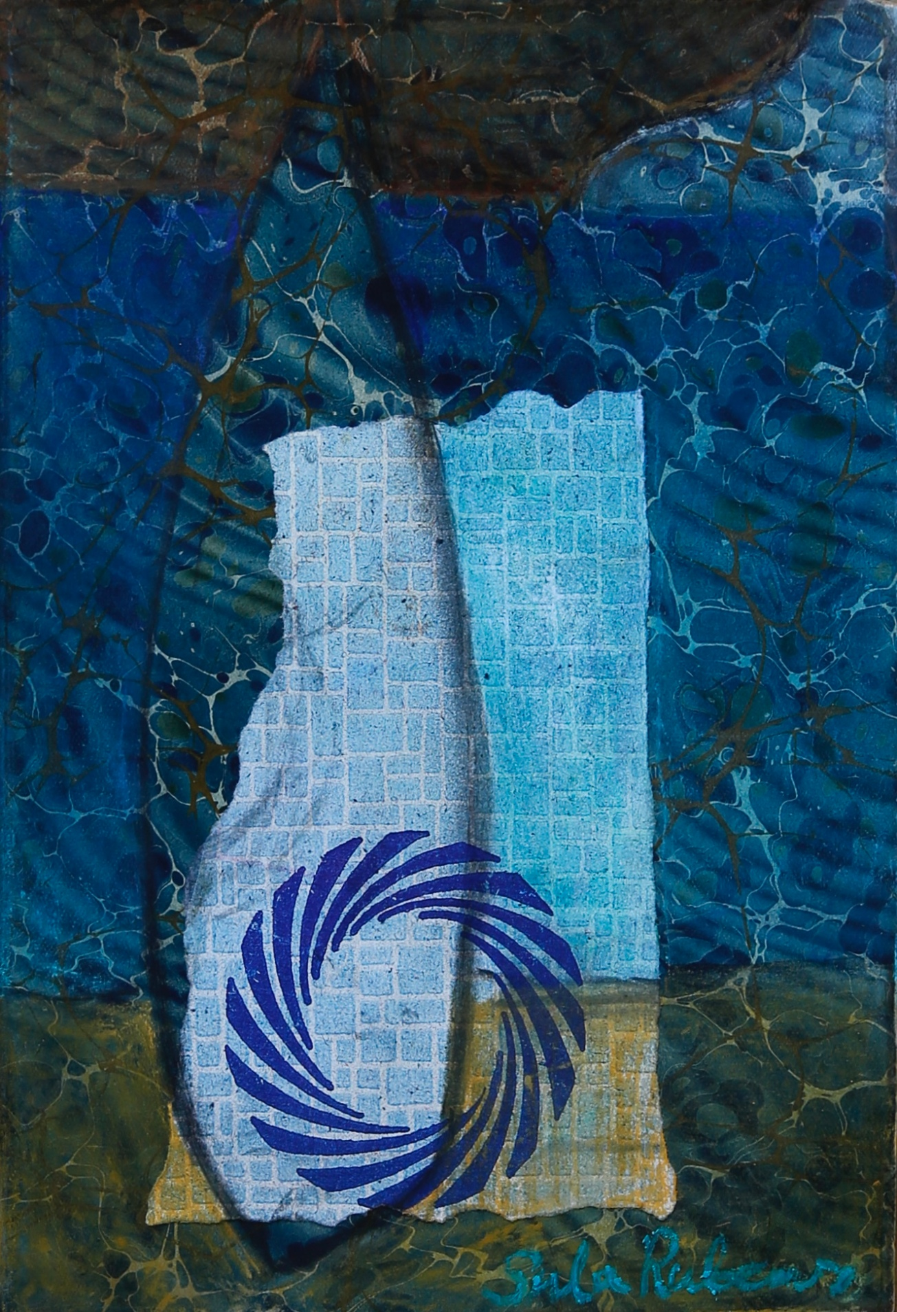 HARBOUR SAIL collage & pastel on paper 23.4 x 16.2 cm