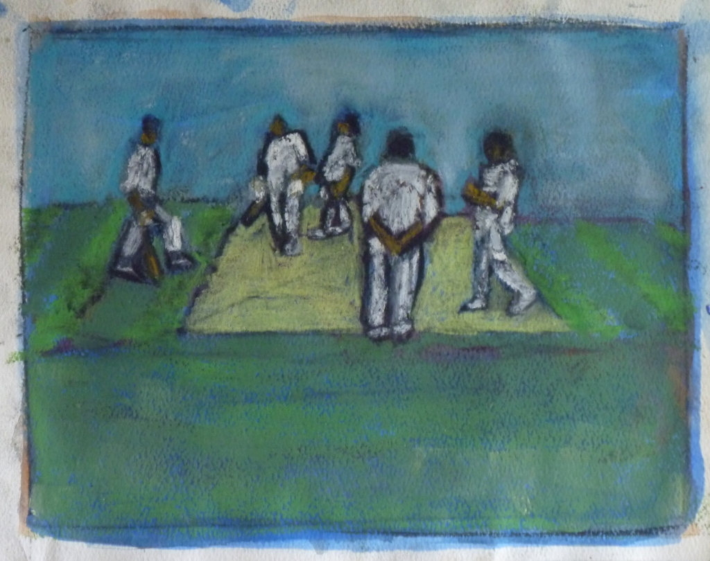 VILLAGE MATCH charcoal, pastel on paper