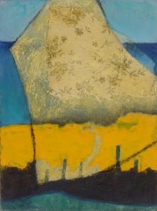COAST LINE collage, Hammerite, pastel on paper