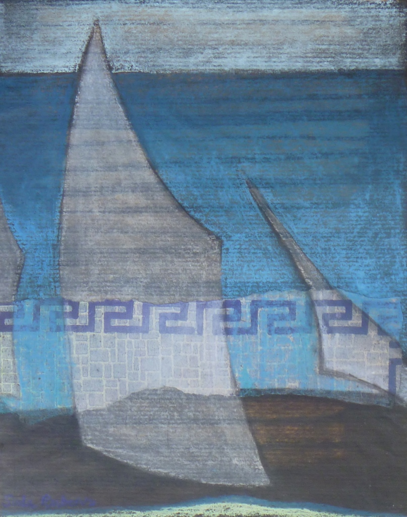SOUTH LOOKOUT SAILS collage, pastel, ink on paper