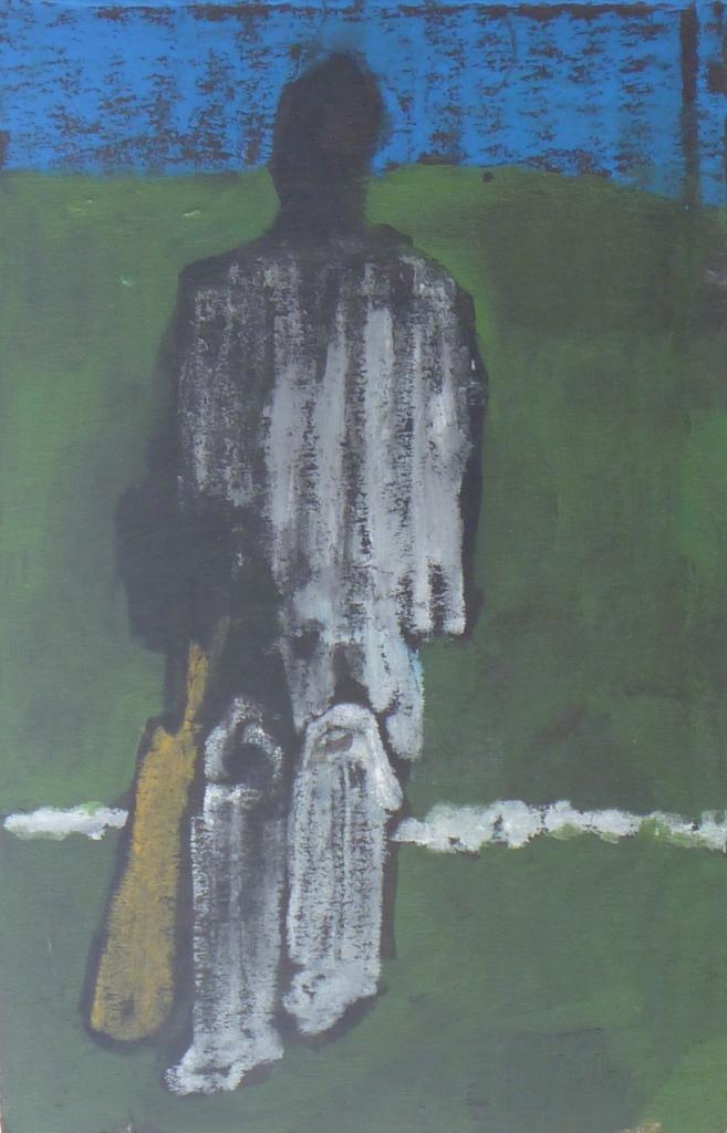 BATSMAN charcoal, acrylic, pastel on cardboard