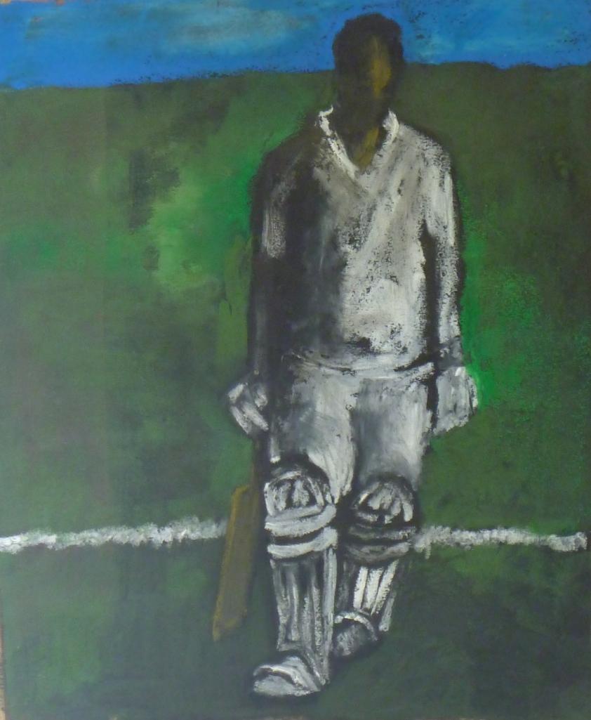 BATSMAN acrylic, pastel on paper 36 x 29 cm