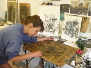 Sula at work in her studio