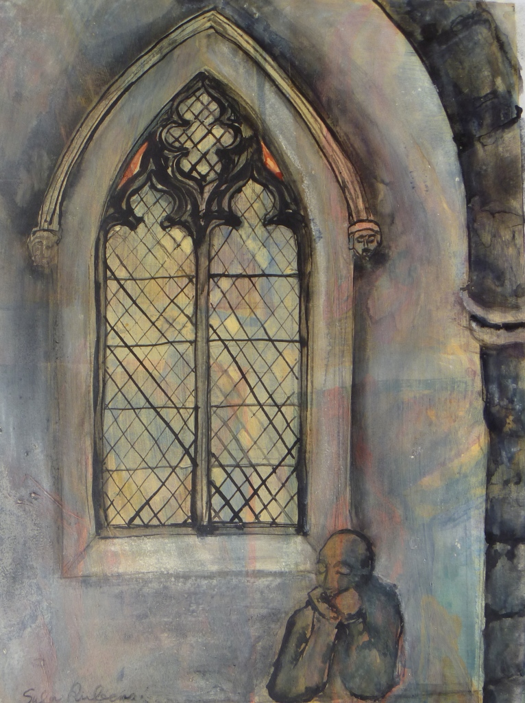 MICHAELHOUSE INTERIOR WITH FIGURE acrylic & ink on paper 48 x 40 cm