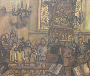 MICHAELHOUSE CHORALE watercolour, ink, acrylic on paper 41 x 49 cm