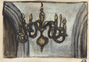 MICHAELHOUSE INTERIOR WITH CHANDELIER & ARCHES pastel,ink on paper