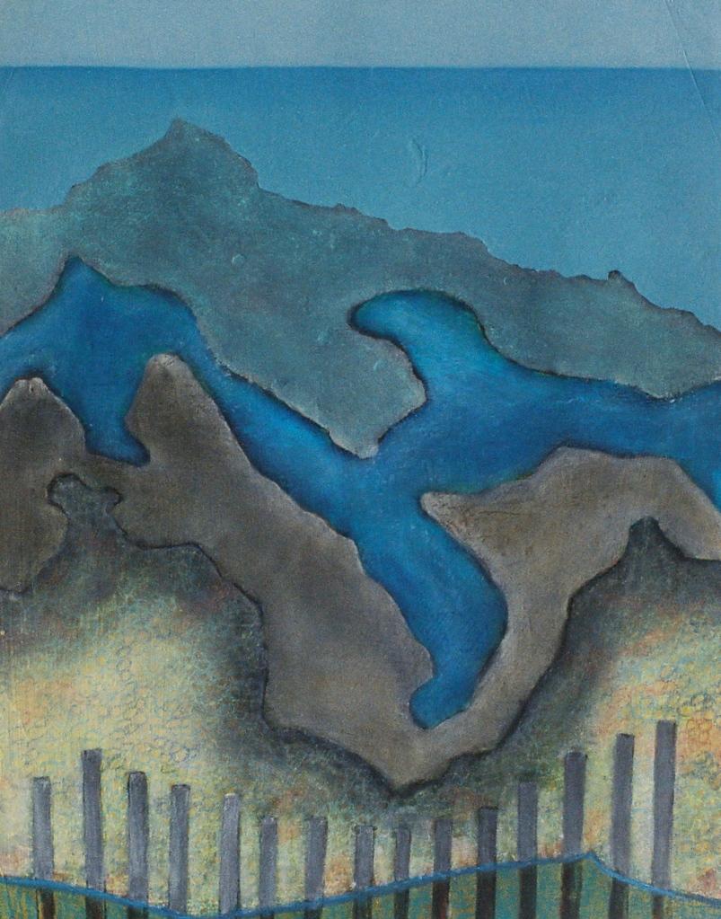 SHORE LINES oil, graphite, pastel on paper 70 x 60 cm