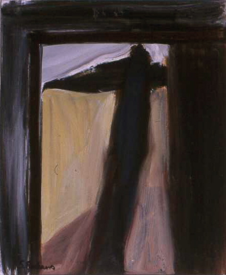 INTERIOR WITH FIGURE oil on paper