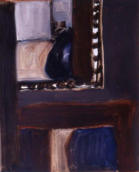 INTERIOR WITH FIGURES oil on paper 32 x 26 cm