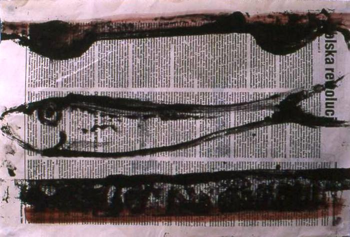 POLSKA REVOLUCJA monoprint on paper 40 x 50 cm