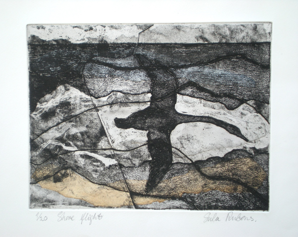 SHORE FLIGHT ETCHING (chine colle) 23 x 30 cm