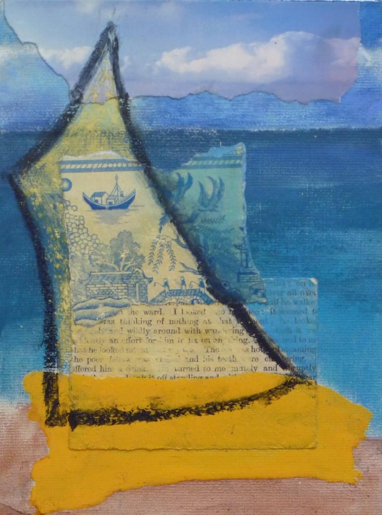 VOYAGE collage,pastel, acrylic, Hammerite on paper
