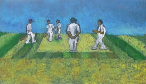 VILLAGE MATCH charcoal, oil pastel, Hammerite on wood