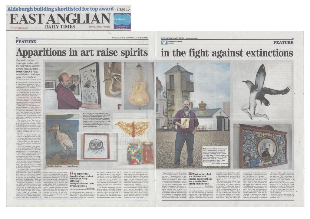 Press coverage of Ghosts of Gone Birds project. (Click on it to enlarge)