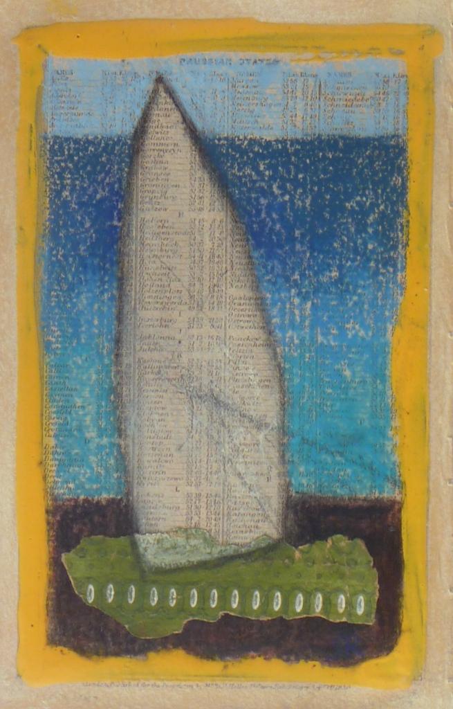 ALDEBURGH SAIL charcoal, Hammerite, pastel on paper