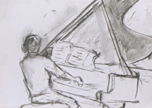 JEAN-EFFLAM BAVOUZET IN REHEARSAL charcoal on paper 29 x 42 cm