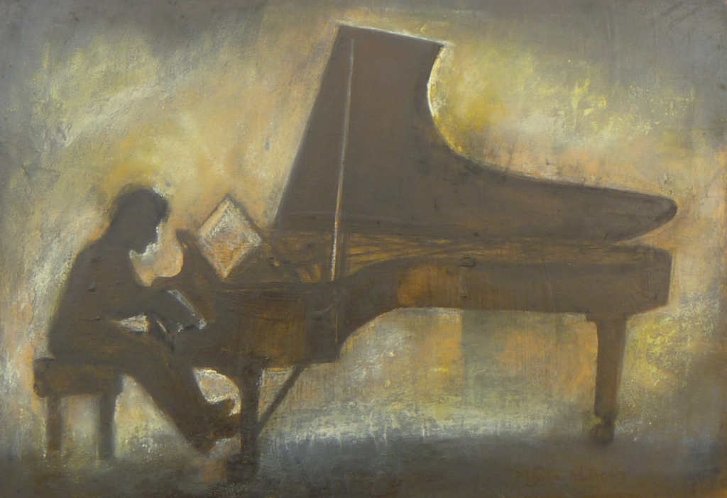 PIANIST STUDY charcoal, pastel, Indian ink on paper 18 x 40 cm