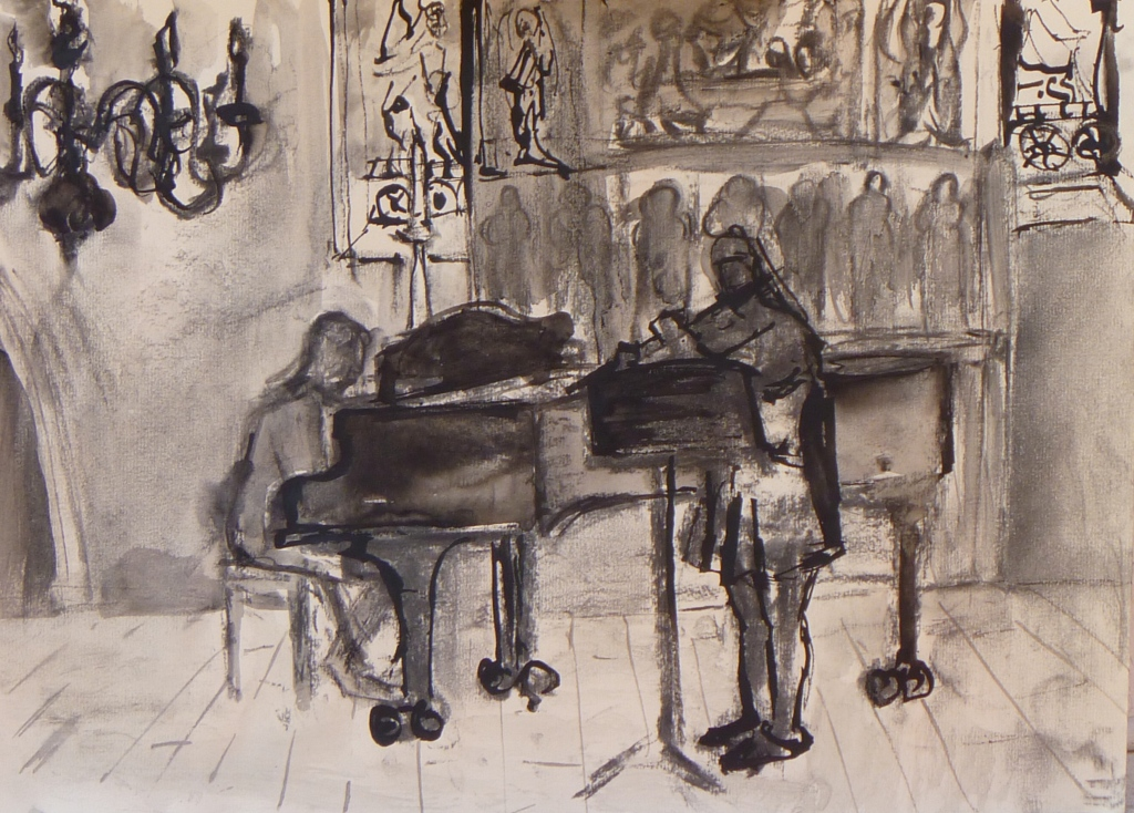 MICHAELHOUSE STUDY ink, charcoal on paper 9 x 40 cm