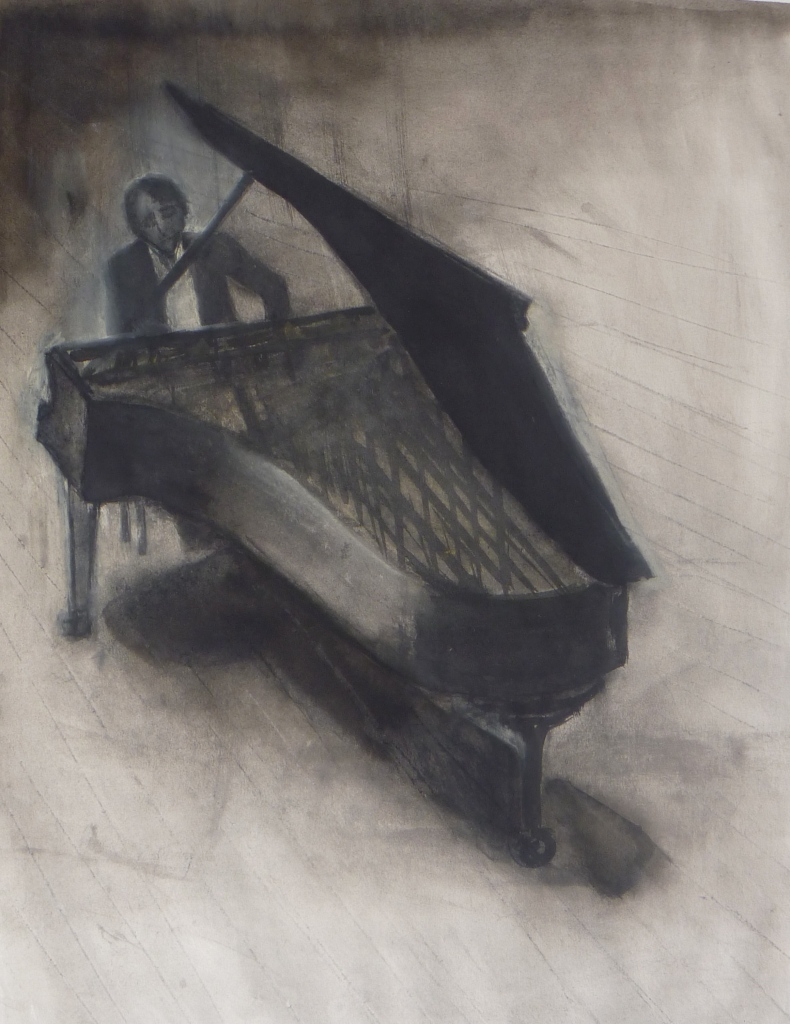 PIANIST ink & charcoal on paper 65 x 55 cm