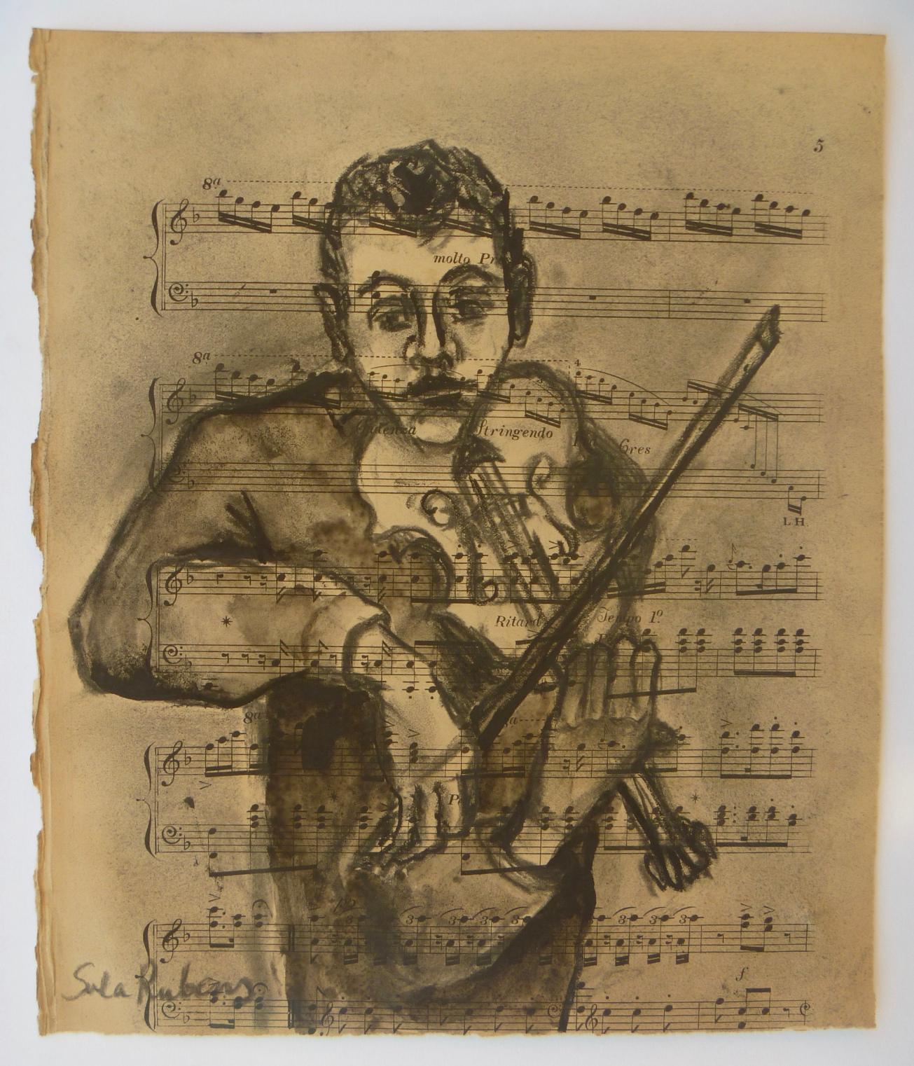 Violist  Charcoal & ink on paper  31 x 25 cm