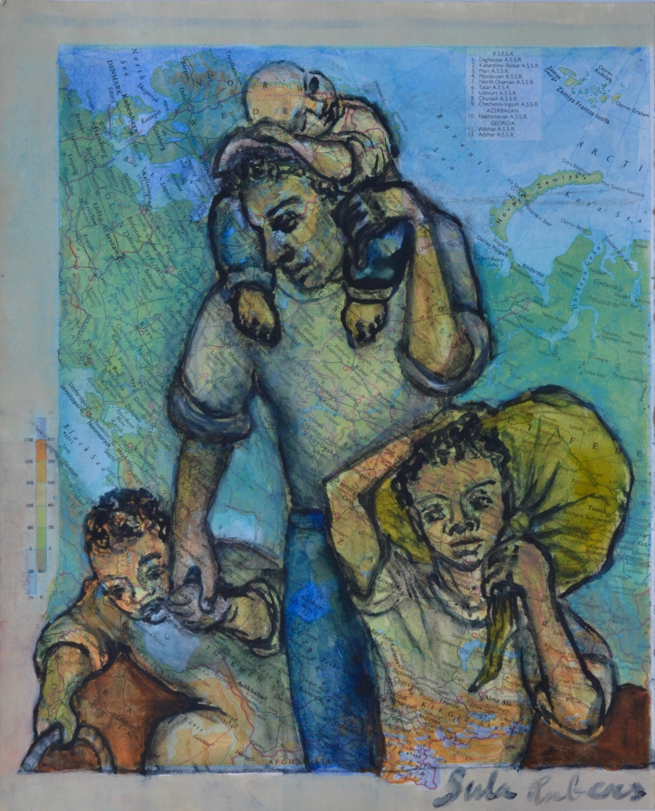 Kin Study - Family Watercolour on paper 19 x 24 cm