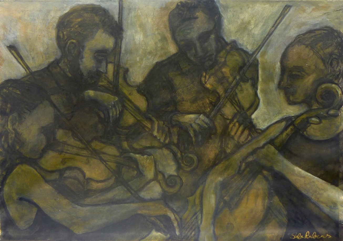 THE ELIAS QUARTET ink, charcoal & acrylic on paper
