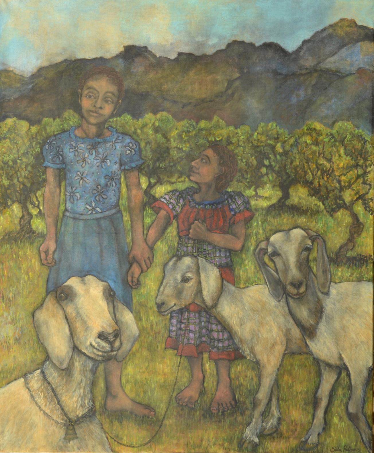 Kin - Three Goats & Two Girls  Oil on canvas  129.3 x 106.5 cm