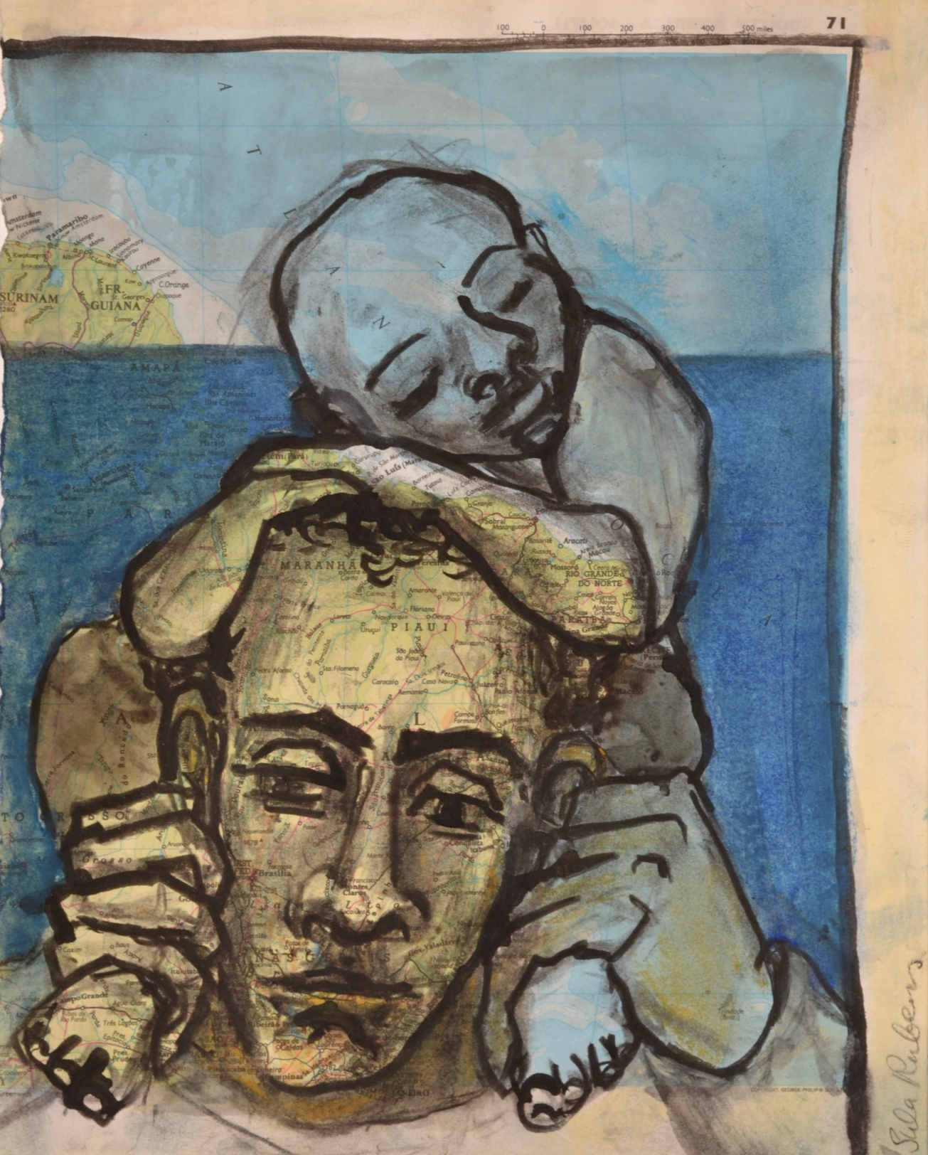 Kin Study (Man with sleeping Child)  Charcoal, ink & pastel on paper  24 x 19 cm