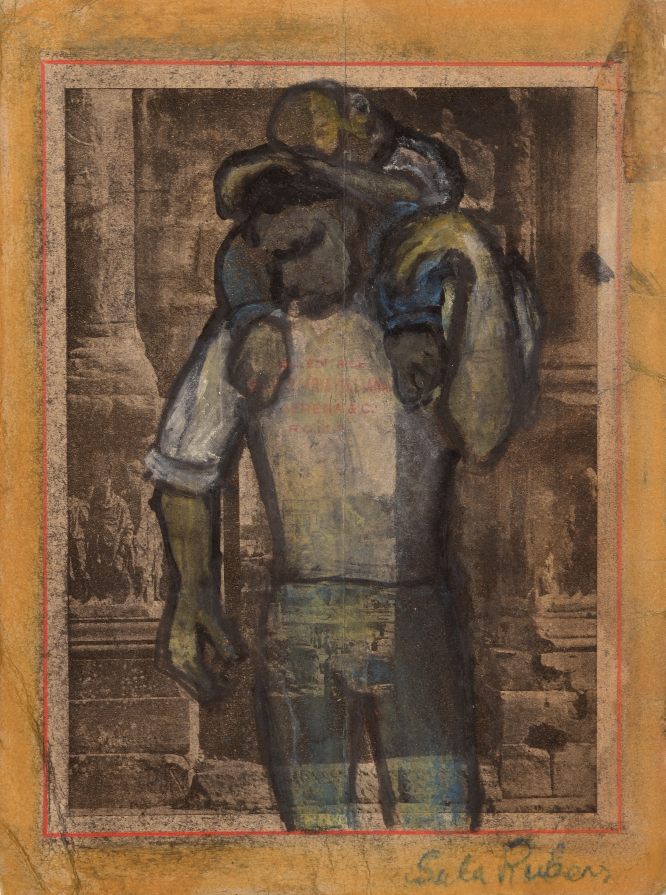 Kin Study (Man carrying sleeping Child) Charcoal, pastel & ink on paper 19 x 14 cm